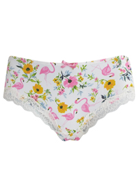 T0PSH0P WHITE Floral Print Brazilian Knickers - Size 8 to 16