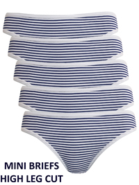 G3orge NAVY 5-Pack Striped Silky Soft High Leg Mini Briefs - Size 10 to 20