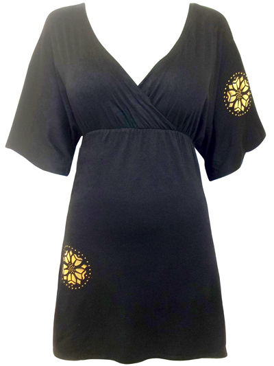 Black Crossover Neck Gold Foil Rosace Tunic by Alison B - Size 8 to 14