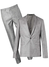 Mens T0PMAN Mid Grey Crosshatch Single Breast Skinny Trouser Suit - Size 34 to 46