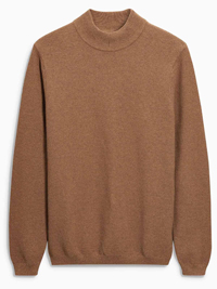 N3XT Mens BROWN Pure Cotton High Neck Jumper - Size Small to Medium