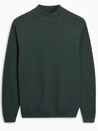 N3XT Mens GREEN Pure Cotton High Neck Knitted Jumper - Size XSmall to XLarge
