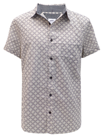 N3XT Mens STONE Linen Blend Short Sleeve Printed Shirt - Size Large to XXLarge