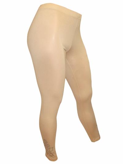 46f35fc3bbe1b3 Muzy - - CREAM Full Length Diamante Embellished Leggings - Plus Size ...