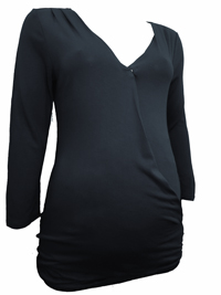 TomTA1L0R BLACK 3/4 Sleeve Jersey Wrap Popper Front Maternity Top - Size XSmall to XXLarge