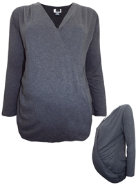 TomTA1L0R GREY Long Sleeve Jersey Wrap Maternity Top - Size XSmall to XXLarge