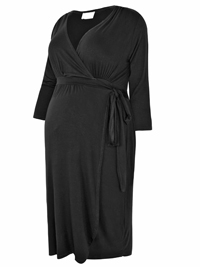 BUMP IT UP Black 3/4 Sleeves Wrap Maternity Dress - Plus Size 16 to 30/32