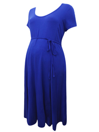 Motherhood ROYAL-BLUE Short Sleeve Belted Maternity Dress - Size Small to XLarge