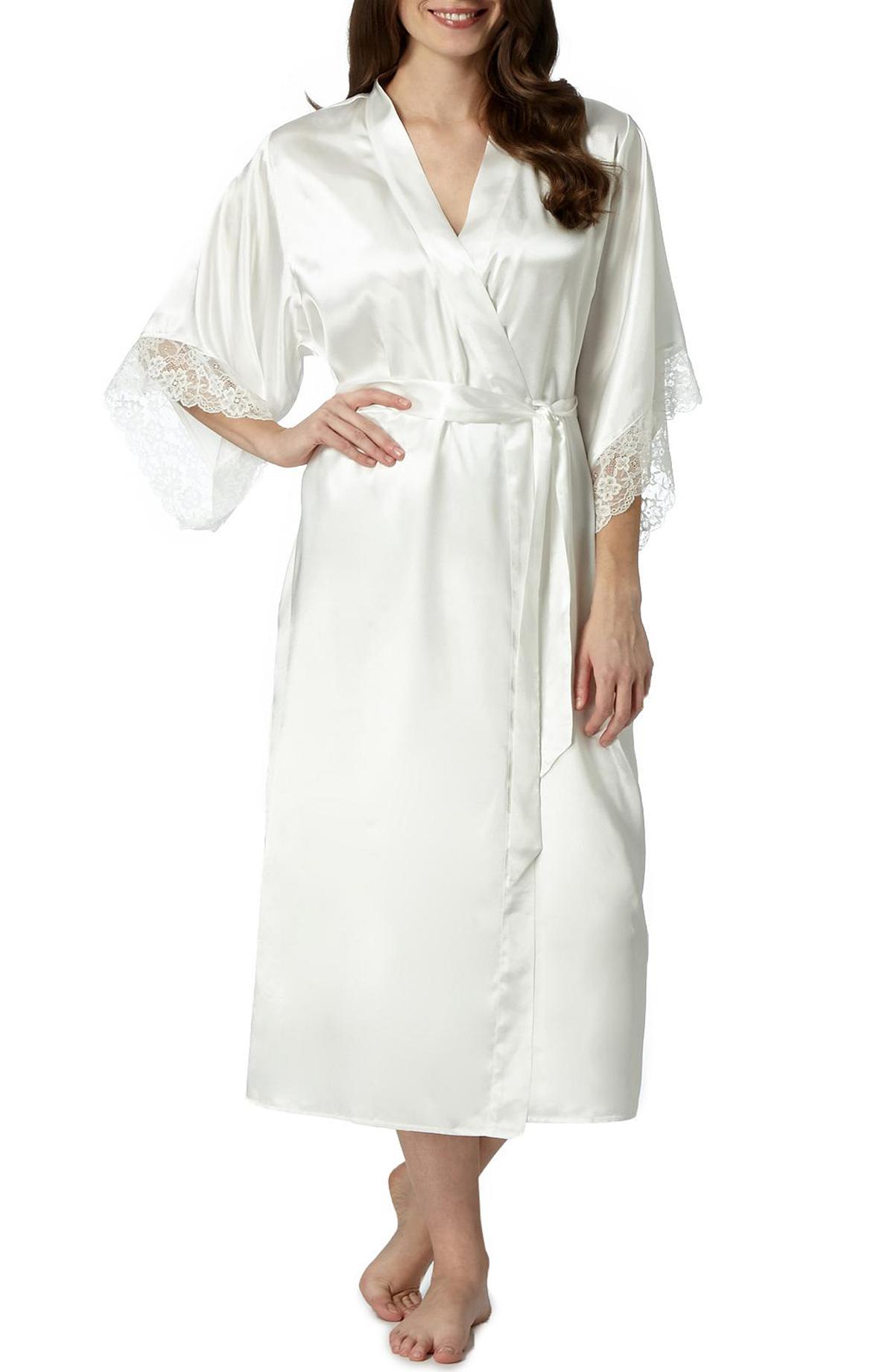 Debenhams - - D3benhams IVORY Lace Cuff Long Dressing Gown - Size 8 ...