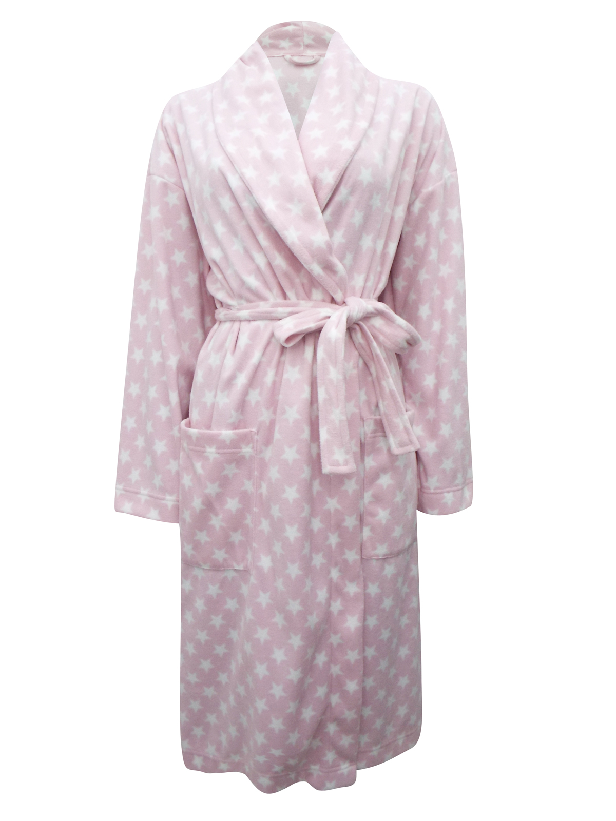 Marks and Spencer - - M&5 PINK Star Print Fleece Wrap Dressing Gown ...