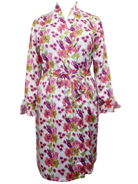 WHITE Satin Floral Print Dressing Gown - Size 18/20 to 26/28 (EU 44/46 to 52/54)