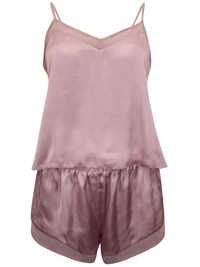 IRREGULAR - AS0S DUSTY-PINK Satin & Chiffon Insert Cami & Short Pyjama Set - Size XSmall to Medium