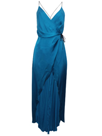 IRREGULAR - AS0S TEAL Contrast Strap Dipped Hem Satin Dress - Size XSmall to Large