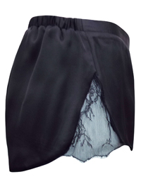 IRREGULAR - ASOS BLACK Lace Panelled Satin Pyjama Shorts - Size 4 to 14