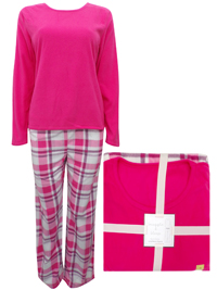 M&5 PINK Checked Print Fleece Pyjamas - Size 10 to 22