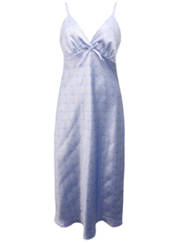 Peter New York BLUE Printed Strappy Satin Long Night Dress - Size Small to Large
