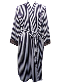 Peter New York BLACK Striped Contrast Lace Trim Satin Wrap Dressing Gown - Size S/M to L/XL