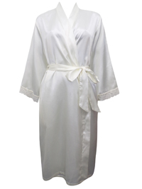 Peter New York OYSTER Contrast Lace Trim Satin Wrap Dressing Gown - Size S/M to L/XL