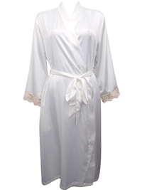 Peter New York WHITE Contrast Lace Trim Satin Wrap Dressing Gown - Size S/M to L/XL