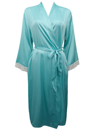 Peter New York AQUA Contrast Lace Trim Satin Wrap Dressing Gown - Size S/M to L/XL