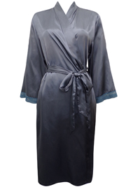 Peter New York SILVER Contrast Lace Trim Satin Wrap Dressing Gown - Size S/M to L/XL