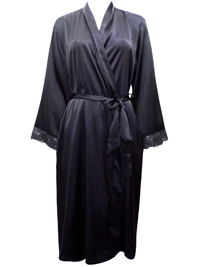 Peter New York BLACK Lace Trim Satin Wrap Dressing Gown - Size S/M to L/XL