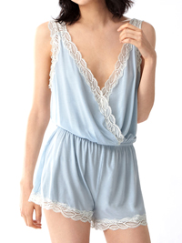 Oysho SKY-BLUE Contrast Lace Nightwear PlaySuit - Size Small to Large