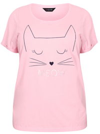 Yours PINK Pure Cotton 'Meow' Short Sleeve Pyjama Top - Plus Size 22/24 to 26/28