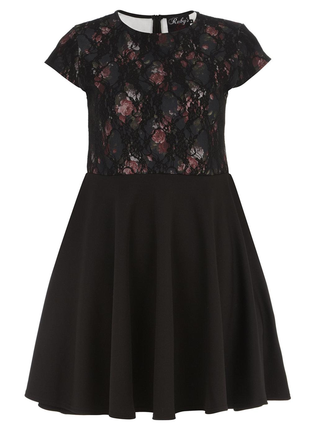 00e6da805c9ae Ruby s Closet - - Ruby s Closet BLACK Bonded Fishnet Lace Print Skater  Dress - Plus Size 12 to 20