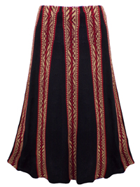 Tri-Tone Sleek Ribbing Flared Skirt - Size 8 to 20