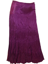 M&C0 Dark Magenta Long Crinkle Satin Skirt - Size 8 to 22