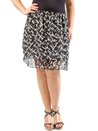 Captive Black Mix Chiffon Layered Skirt - Plus Size 14/16 to 26/28