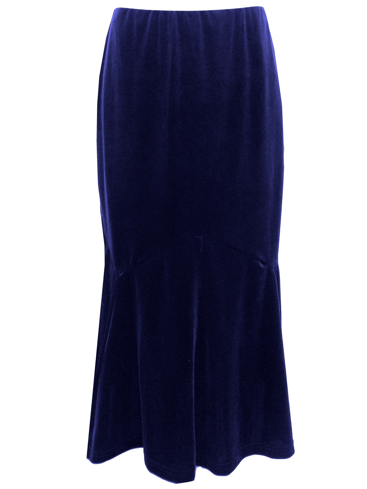 NAVY Velvet Panelled Long Skirt - Plus Size 12 to 22