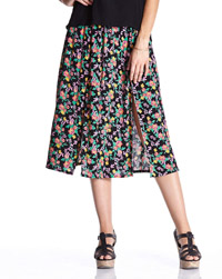 LabelBe BLACK Floral Print Split Sides Front Midi Skirt - Plus Size 14 to 32