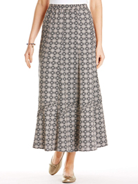 Anthology BLACK Stone Tile Print Linen Blend Long Skirt - Plus Size 12 to 32