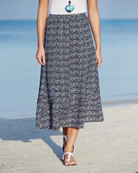 Anthology NAVY Linen Blend Printed Skirt - Plus Size 12 to 32