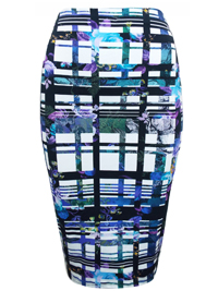 WHITE Floral Grid Bodycon Skirt - Size 16 to 28