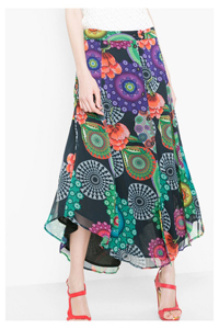 D3sigual BLACK Londinense Floral Button Through Skirt - Size 6 to 14 (EU 34 to 42)