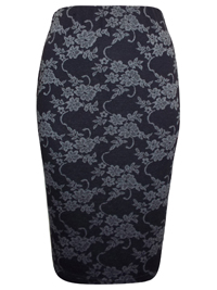 N3w Look BLACK Floral Vine Print Midi Skirt - Size 6 to 16