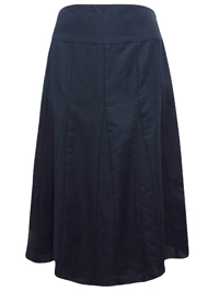 First Avenue BLACK Linen Blend Panelled A-Line Skirt - Size 10 to 18