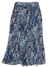 Karida BLUE Crinkle Chiffon Belted Skirt - Plus Size 12 to 26