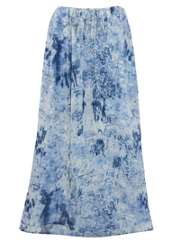 Miss Milla BLUE Printed Chiffon Side Split Maxi Skirt - Size 6/8 to 18/20 (XSmall to Large)