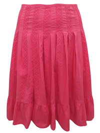 Lane Bryant CORAL Pure Cotton Broderie Angalise Panelled Skirt - Plus Size 14 to 28