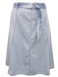 M&Co CHAMBRAY A-Line Belted Denim Skirt - Size 10 to 20