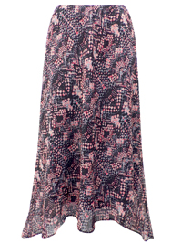 Wardrobe Essentials CORAL Printed Georgette Skirt - Plus Size 12 to 20 (Length 29in)