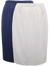 Being Casual NAVY/STONE 2-Pack Pull On Skirts - Plus Size 24/26 to 32/34