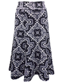 Marisota BLACK Printed Jersey Skirt - Plus Size 12 to 20 (Length 29in)