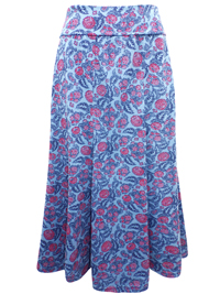 Marisota BLUE Printed Jersey Skirt - Plus Size 12 to 30 (Length 32in)