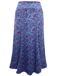 Marisota BLUE Printed Jersey Skirt - Plus Size 16 to 32 (Length 35in)