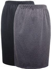 Being Casual CHARCOAL/BLACK 2-Pack Pull On Skirts - Plus Size 32/34